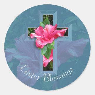 Pegatinas tropicales de las bendiciones de Pascua Pegatinas Redondas
