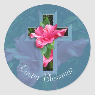 Pegatinas tropicales de las bendiciones de Pascua Pegatina Redonda