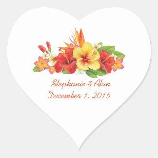 Pegatinas tropicales del boda del hibisco pegatina en forma de corazón