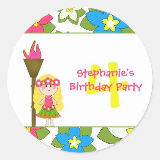 Pegatinas tropicales lindos de la fiesta de etiquetas redondas