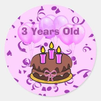 Pegatinas ultra lindos de la torta de cumpleaños etiquetas redondas