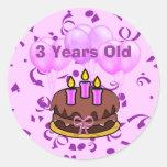 Pegatinas ultra lindos de la torta de cumpleaños d