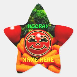 Pegatinas vegetales para los niños, consumición pegatinas forma de estrellaes personalizadas