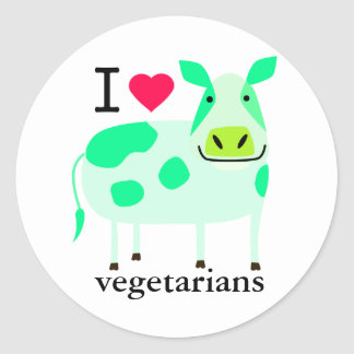 Pegatinas vegetarianos de la vaca pegatinas redondas