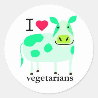 Pegatinas vegetarianos de la vaca pegatina redonda