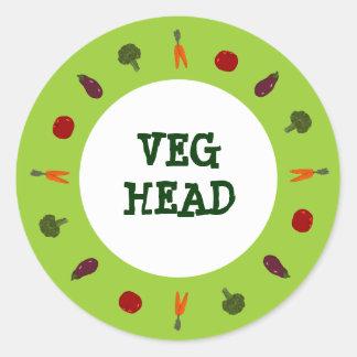Pegatinas vegetarianos principales del vegano de pegatina redonda