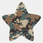 Pegatinas verdes de Camo del invierno Pegatina En Forma De Estrella