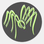 Pegatinas verdes de la araña etiqueta redonda