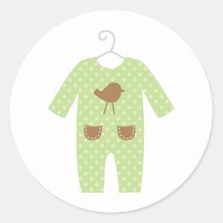 Pegatinas verdes de la fiesta de bienvenida al beb