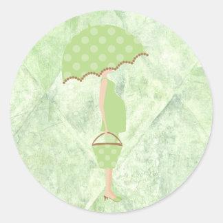Pegatinas verdes de la fiesta de bienvenida al pegatina redonda