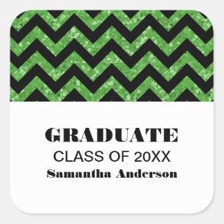Pegatinas verdes de la graduación del brillo de pegatina cuadrada