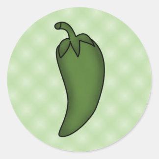 Pegatinas verdes de la pimienta de chile pegatina redonda