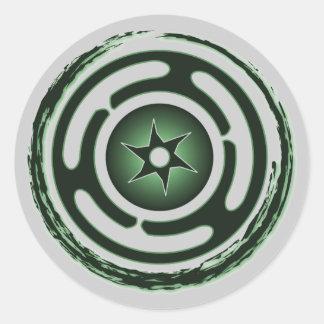 Pegatinas (verdes) de la rueda de Hecate Pegatina Redonda