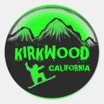 Pegatinas verdes de la snowboard de Kirkwood Pegatinas Redondas