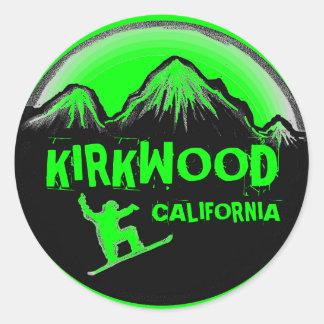 Pegatinas verdes de la snowboard de Kirkwood Calif