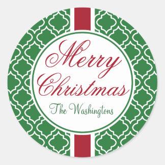 Pegatinas verdes de las Felices Navidad del Pegatina Redonda