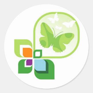 Pegatinas verdes de las mariposas pegatina redonda
