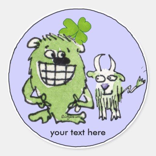 Pegatinas verdes de los dibujos animados del pegatina redonda
