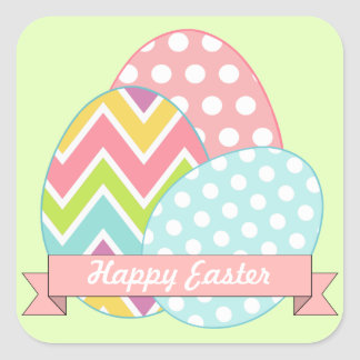 Pegatinas verdes de los huevos de Pascua Pegatina Cuadrada