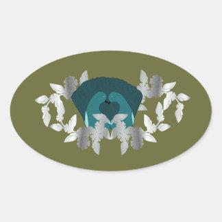 Pegatinas verdes de los pájaros del amor calcomania oval