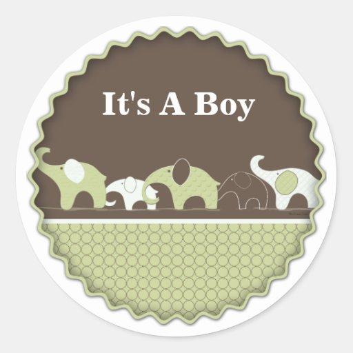 Pegatinas verdes del bebé del elefante etiqueta redonda