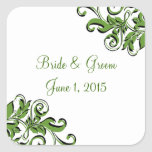 Pegatinas verdes del boda de los remolinos pegatina cuadradas personalizada