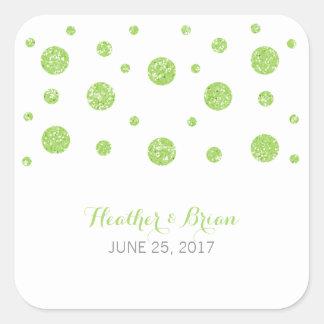Pegatinas verdes del boda del confeti del brillo pegatina cuadrada