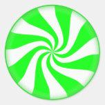 Pegatinas verdes del caramelo de hierbabuena pegatina redonda