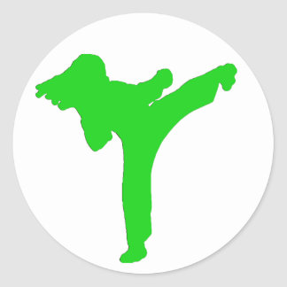 Pegatinas verdes del chica del karate etiqueta redonda
