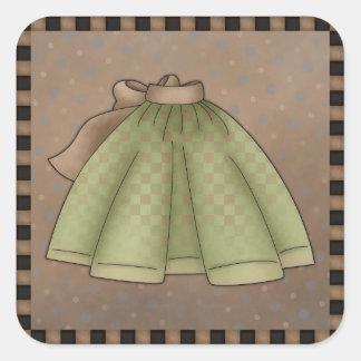 Pegatinas verdes del cuadrado del delantal pegatina cuadrada