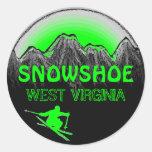 Pegatinas verdes del esquí de Virginia Occidental
