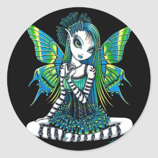 """Pegatinas verdes del Faerie del tatuaje de """"Katy"""" Pegatina Redonda"""