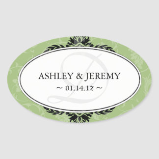 Pegatinas verdes del favor del boda calcomanías ovaladas