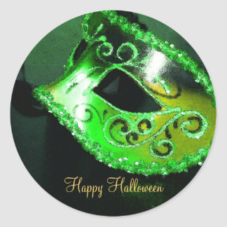 Pegatinas verdes del fiesta de Halloween de la Etiqueta Redonda