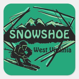 Pegatinas verdes del logotipo del esquí de colcomanias cuadradas
