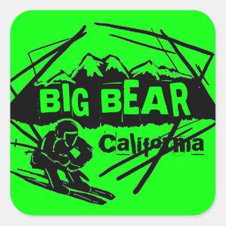 Pegatinas verdes del logotipo del esquí de Big Pegatina Cuadrada