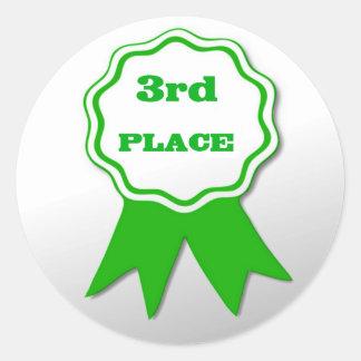 Pegatinas verdes del premio de la cinta del pegatina redonda