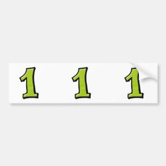 Pegatinas verdes del recorte de los números 1 pegatina para auto