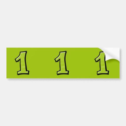 Pegatinas verdes del recorte de los números 1 tont pegatina de parachoque