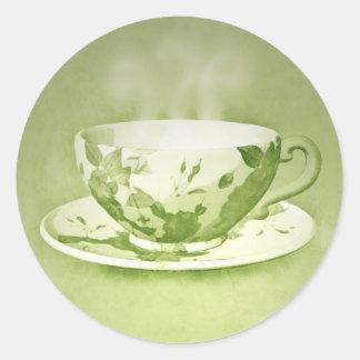 Pegatinas verdes encantadores de la taza de té pegatinas redondas