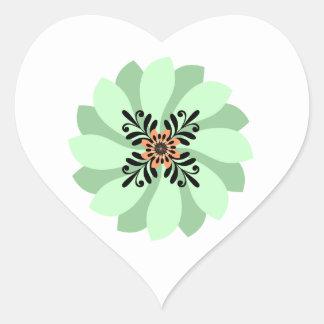 Pegatinas verdes florales modernos del boda pegatina en forma de corazón