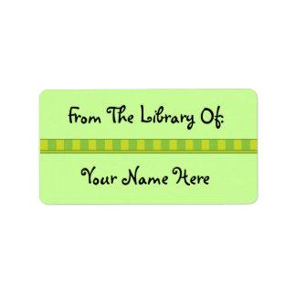 Pegatinas verdes personalizados de la biblioteca etiquetas de dirección