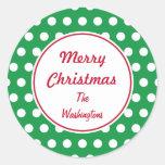 Pegatinas verdes personalizados del navidad etiqueta redonda