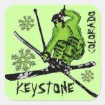 Pegatinas verdes trapezoidales del esquí del tema