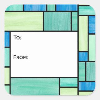 Pegatinas verdes y azules de la etiqueta del