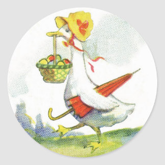 Pegatinas vestidos vintage del pato de Pascua