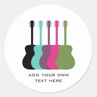 Pegatinas vibrante coloreados de las guitarras etiquetas redondas
