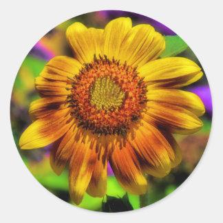 Pegatinas vibrantes del girasol pegatina redonda