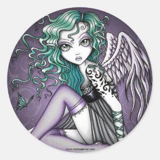 Pegatinas violetas del ángel del tatuaje de Malory Pegatina Redonda