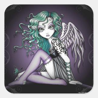 Pegatinas violetas del ángel del tatuaje de pegatina cuadrada